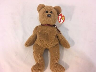 Rare Retired Curly The Bear Original Beanie Baby Ty Tag Several Tag Errors