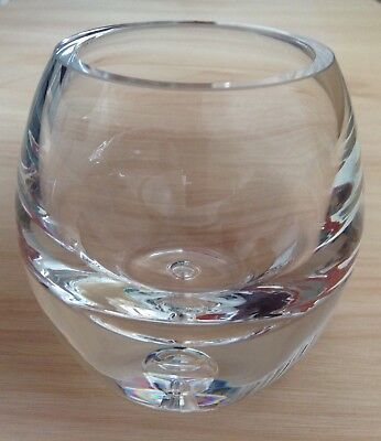 Krosno Poland Heavy Glass Vase With Bubble Feature In The Base
