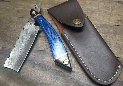 Custom made hand crafted KNIFE KING'S Damascus Razor with Sheath