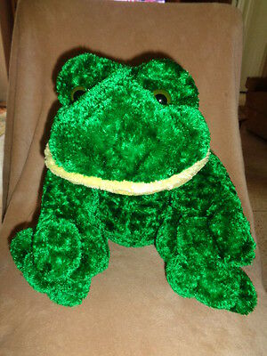 "Frog Plush DanDee Silky soft Green & Yellow Stuffed Animal huge large 20"" cuddly"