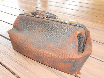 Antique Walrus Leather Doctors Medical Bag Costume Halloween Prop Scary Spooky