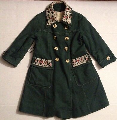 VTG Rothschild Girls Green Coat W/ Knitted Accents Faux Fur Lined~Union Made~8