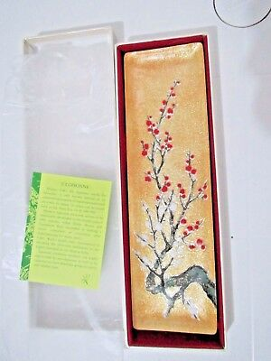 New Japanese Cherry Blossom Cloisonne Enamel dish plate tray w/Box