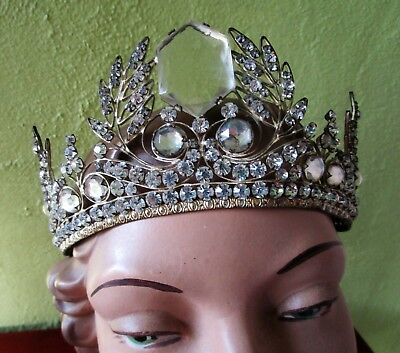 Laurel Leaf French Repousse Brass Tiara Crown Rhinestone Jewels