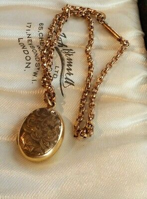 antique belcher chain signed Pioneer rolled gold engraved locket T+H