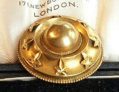 Antique Victorian ivy leaves brooch pinchbeck photo locket at the back