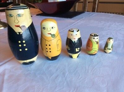 Set of Russian Nesting Dolls. Male Pipe Smoking Figures.