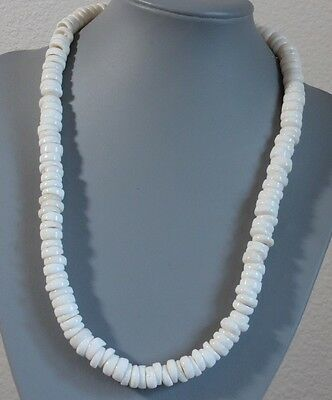"""Vtg 1970s Hawaiian Large 10mm White Puka Shell Necklace Silver Barrel Clasp 19"""""""