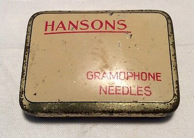 Rare Vintage Hansons Cream British Gramophone Needle Tin Box Advert 1940's Music