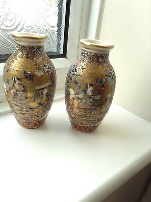 A pair of Japanese Hand Painted Vases - Moriage ?