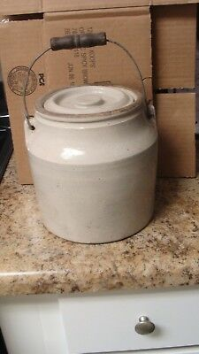 Antique Stoneware Fruit Canning Jar Crock With Lid and Wire Bail Wood Handle