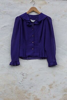 Vintage Purple 1970s Sheer Button-down Long-Sleeved Blouse Shirt Ruffle Collar S