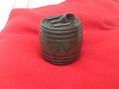 Unique Antique Pewter Tobacco Jar- In Shape Of Barrel-Pipe Detail On Lid