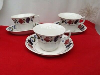 ADAMS OLD COLONIAL  x 3 TEA CUPS and SAUCERS