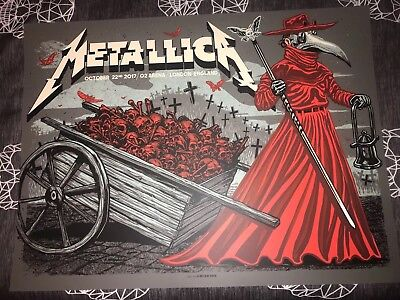Metallica Concert Poster London O2 Arena WorldWired Tour Numbered 184 Of 320