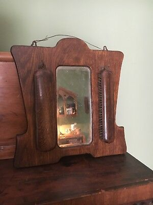 Oak arts and crafts dressing mirror with clothes brushes, vintage antique item