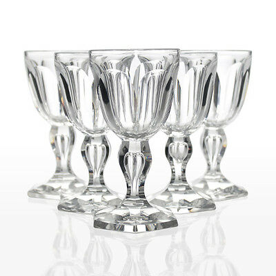Val St Lambert - 6x Antique Hexagonal Cut 'Paul 1er' Wine Glasses - Belgium