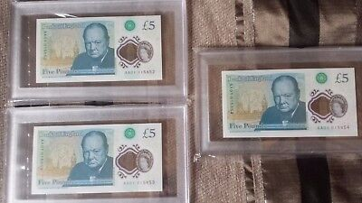 AA01 3 X Rare Five Pound Polymer Note With Consecutive Serial Numbers AA01015852