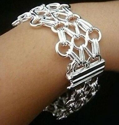 Wholesale xmas gift Fashion Jewelry 925SOLID Silver net Link Bracelet BANGLE+BOX