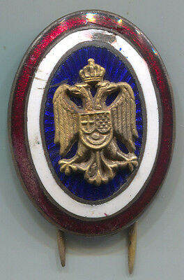 Kingdom Of Yugoslavia Serbia Kokarda Cockade Enamel Insignia For Cap!!!