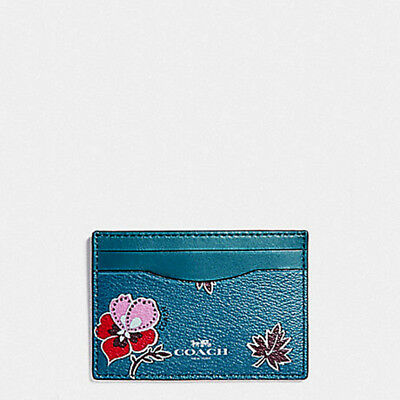 Nwt Coach F12773 Flat Card Case In Teal Wildflower Print Coated Canvas