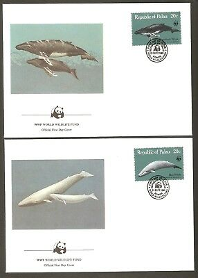 1983   PALAU  -   4 x WWF FIRST DAY COVERS  -  WHALES