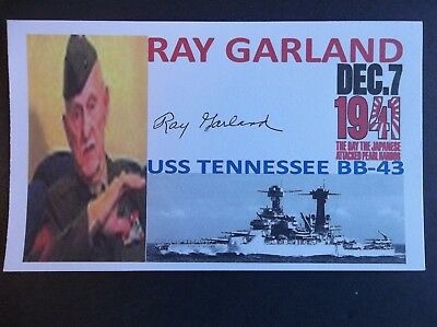 PEARL HARBOR Ray Garland USS Tennessee BB-43 Autographed 3x5 Index Card