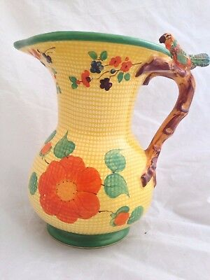 SWINNERTONS Hampton Ivory - hand painted 'Parrot' handle Jug c 1930