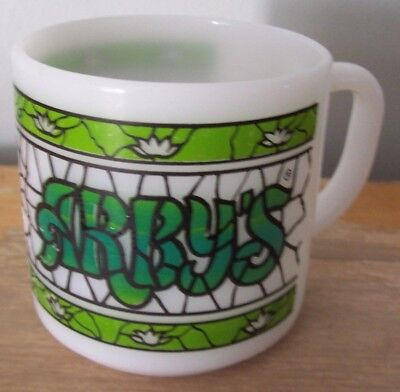 Vintage Federal Milk Glass Coffee Mug -Arby's Restaurant- Stained Glass Design