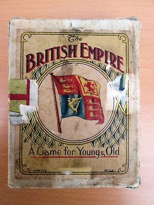 RARE Antique THE BRITISH EMPIRE Card Game 52 CARDS + Instructions BOXED