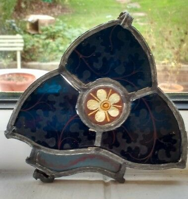 Vintage leaded decorative trefoil stained glass