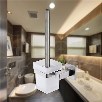 Toilet Brushes & Sets Wall Mount SS304 Holder Glass Cup Bathroom Accessories NEW