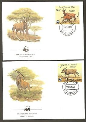 1986   MALI   -  4 x WWF FIRST DAY COVERS  -  GIANT ELAND