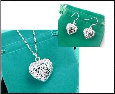 UK Valentine Gift jewelry silver Carved Heart Chain necklace&Earrings Set
