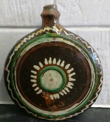 Small vintage trailed slipware pottery flask folk art