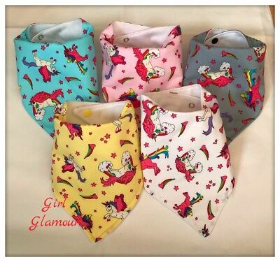 PACK 5 Baby Bandana Dribble Bib Bibs Pink Unicorn Fabric Bow Dress Food Burp
