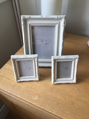 Set Of 3 Cream Vintage Style Picture Frames