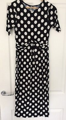 ASOS Maternity Knee Length Black And White Polka Dot Wiggle Dress Size 10