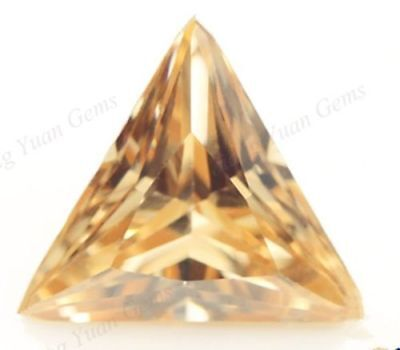 5.05Ct UNHEATED CHAMPAGNE SAPPHIRE 10MM Triangle CUT VVS LOOSE GEMSTONE