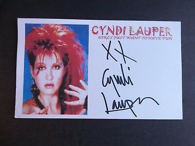 """Cyndi Lauper """"Girls Just Want to Have Fun"""" Autographed 3X5 Index Card"""
