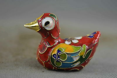 China Collectable Handwork Royal Cloisonne Carve Mandarin Duck Auspicious Statue