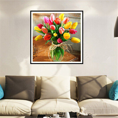 DIY Tulip 5D Diamond Embroidery Craft Painting Cross Stitch Mosaic Home Decor FT