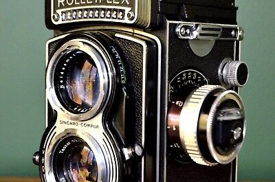 ROLLEIFLEX T1 TESSAR 3.5 75mm LENS TLR 6x6 CAMERA WITH METER