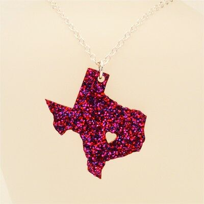 Texas State Necklace, Laser Cut Acrylic or Wood, 80 Colors, 18 Inch Chain