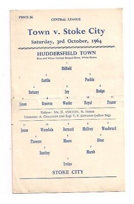 Huddersfield Town V Stoke City-Central League-Programme-1964