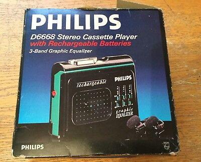Philips D6668 Stereo Cassette Player,rechargeable.box,instructions,charger