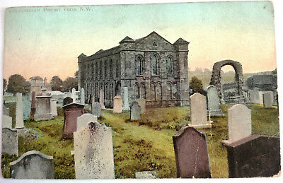 RP vintage colour postcard Coldingham Priory Scotland Scottish Borders penny red