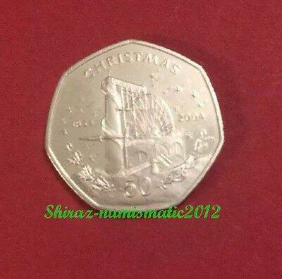 2004 Isle of Man Christmas 50p Pence Laxey Wheel Coin UNC