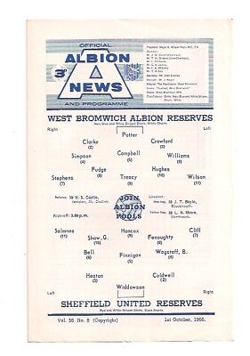 West Bromwich Albion V Sheffield United-Central League-Programme- 1966