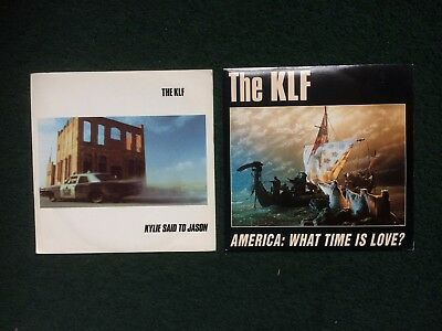 """The KLF  2x 7"""" vinyl 45RPM singles Kylie Said To Jason America What Time Is Love"""